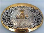 OC TANNER 24KT PLATED BELT BUCKLE .03PT SAPHIRE AND RUBY AND 1 RND .06PTS DIAMON